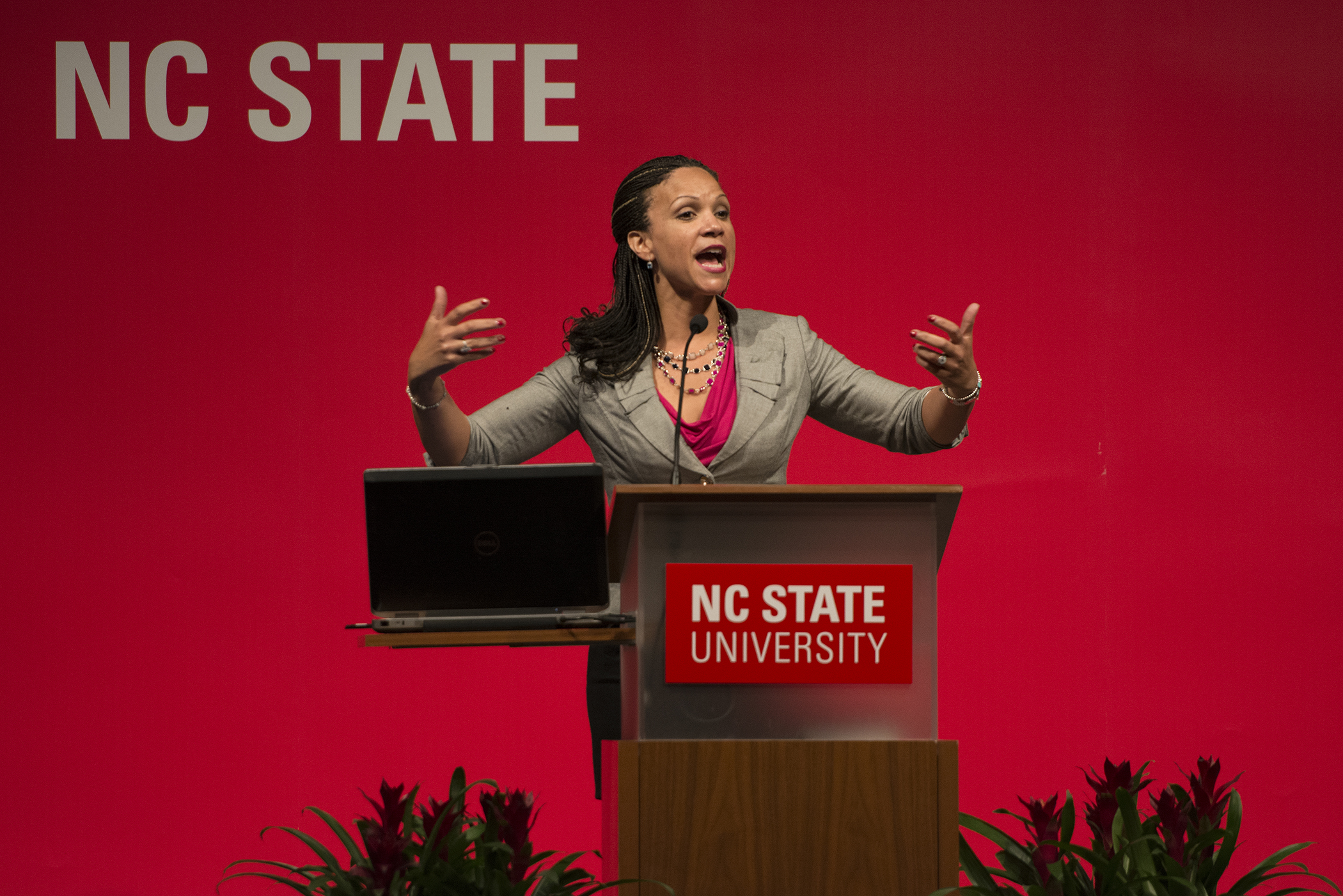 "Melissa Harris-Perry, professor of politics and international affairs at Wake Forest University, speaks at the Martin Luther King, Jr. Commemoration Jan. 12, 2015 in the State Ballroom.  Perry is well-know for her self-titled weekend news and opinion show and as the author of ""Sister Citizen: Shame, Stereotypes, and Black Women in America."" By: Caide Wooten"