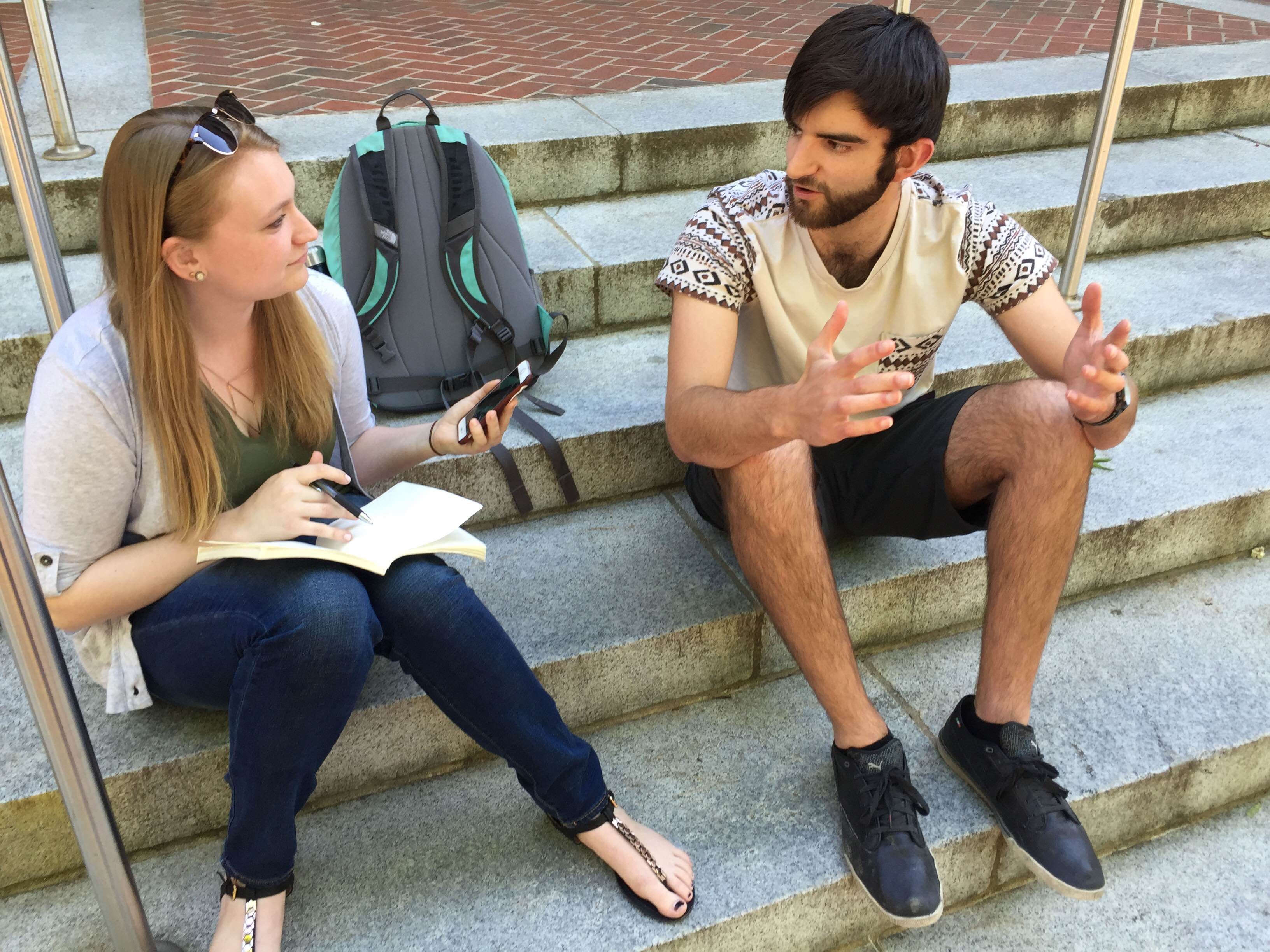 Writer Eliza Eisenhardt interviews Brian Iezzi in front of Thompson Hall on April 14, 2016.