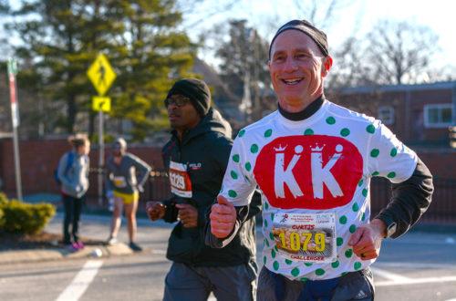 Man running in Krispy Kreme Challenge