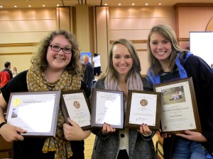 2011 Editor-in-Chief Susannah Brinkley, Staff Writer Nikki Stoudt and Design Editor Chelsea Brown at the Associated Collegiate Press Convention in Chicago, Ill. Saturday.