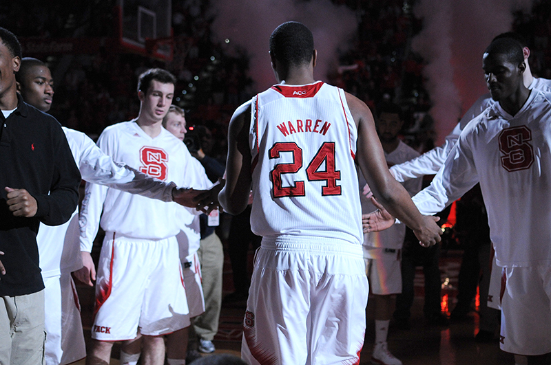 Freshman forward T.J. Warren walks out as he's introduced against Flordia State Univesity Tuesday, Feb. 19, 2013.  Warren had 31 points and 13 rebounds in the Wolfpack's 84-66 win against the Seminoles at PNC Arena.   By:  Ryan Parry