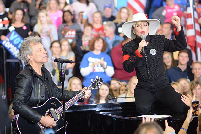 Jon Bon Jovi and Lady Gaga perform at Hillary Clinton's midnight rally in Reynolds Coliseum the night before Tuesday, Nov. 8. Both artists performed, and spoke about why they supported Clinton's campaign. They emphasized the importance of the 2016 election and getting out the vote.