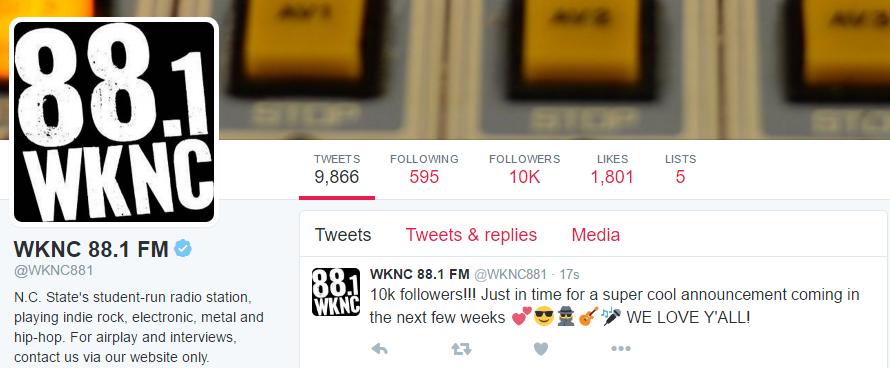 WKNC Twitter account