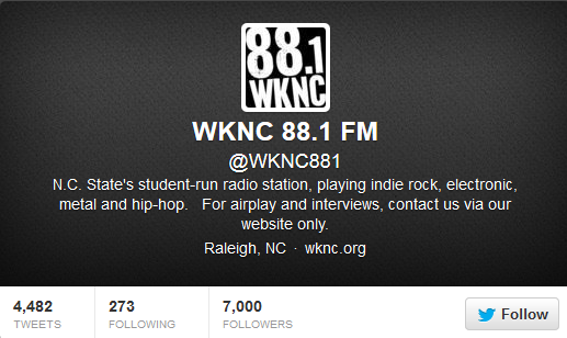 WKNC reaches 7000 Twitter followers
