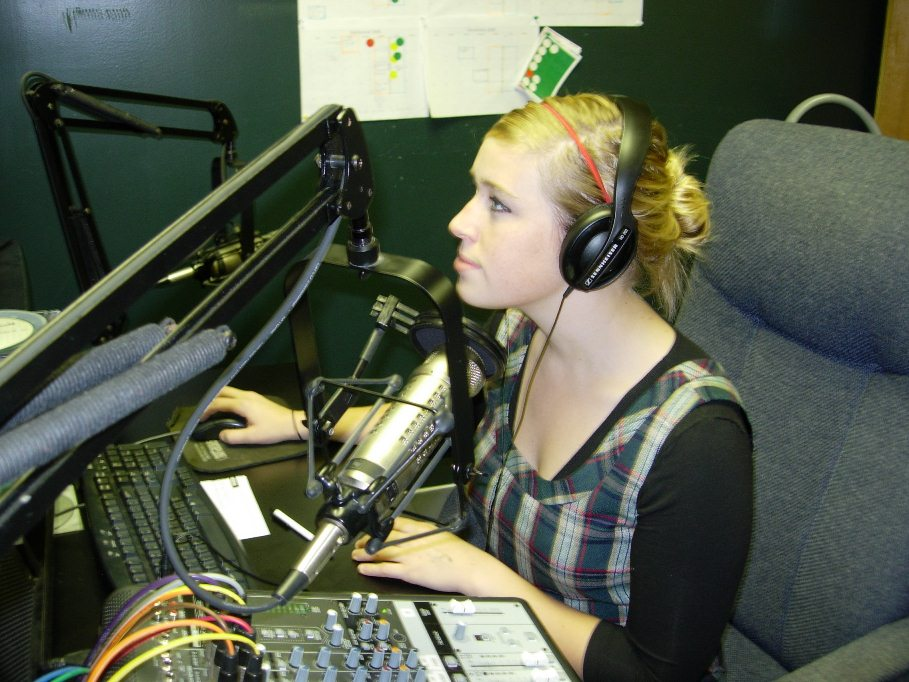 radio student at computer