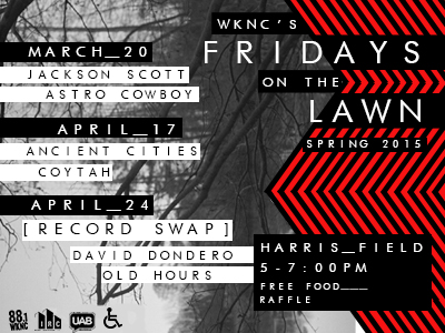 WKNC spring 2015 Fridays on the Lawn flier