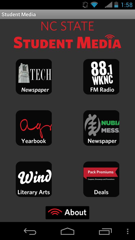 Student Media App landing page