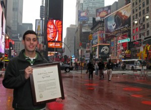 Student in NYC with award