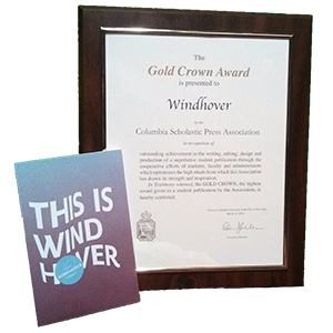 The 2013 Windhover, edited by Lisa Dickson, won the Gold Crown award