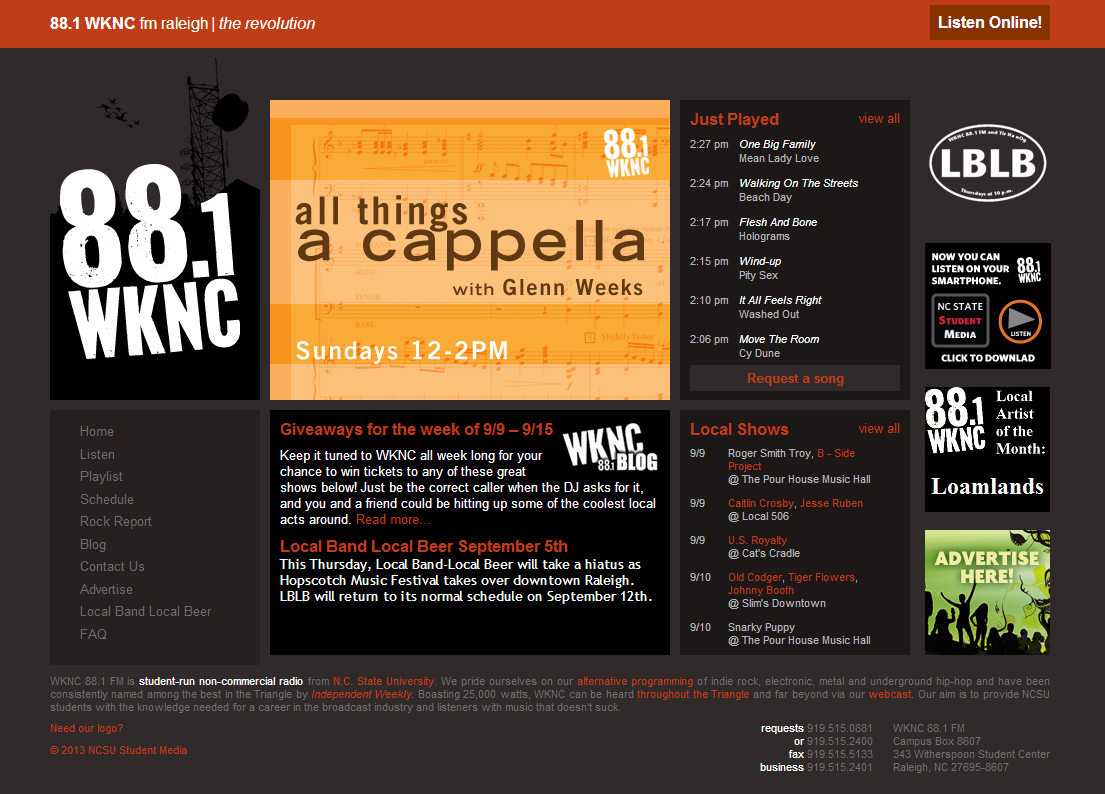 WKNC website front page